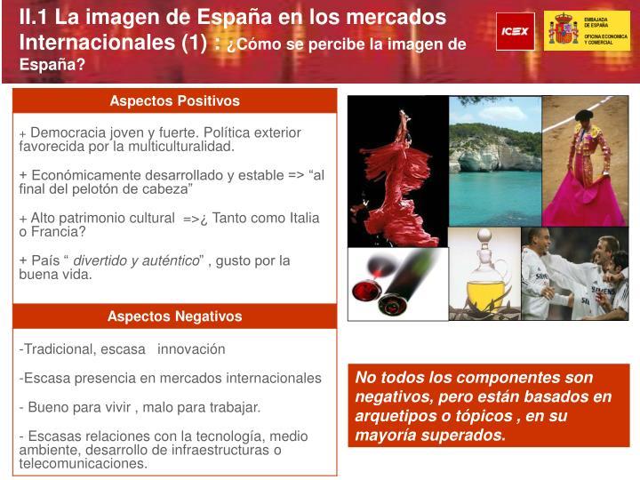 II.1 La imagen de España en los mercados Internacionales (1) :