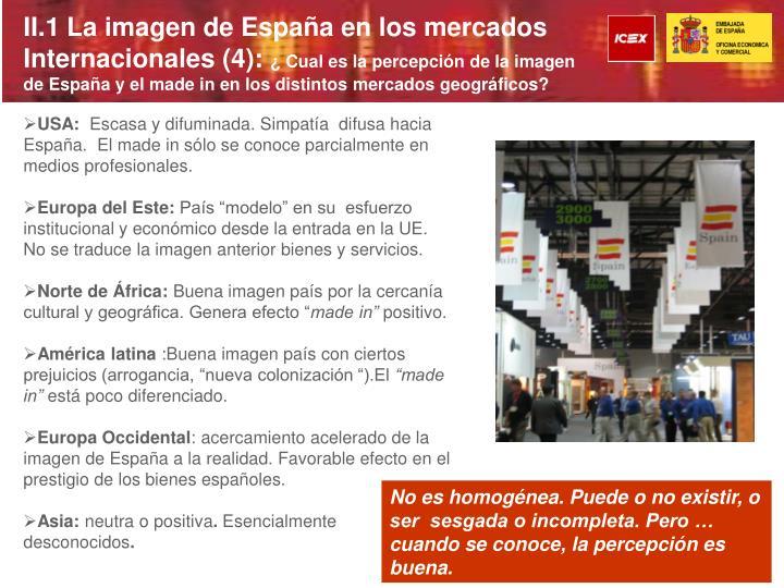 II.1 La imagen de España en los mercados Internacionales (4):