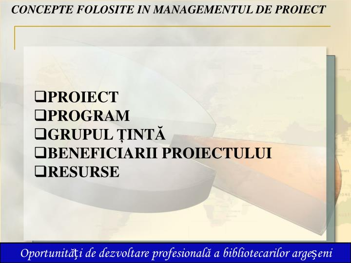 CONCEPTE FOLOSITE IN MANAGEMENTUL DE PROIECT