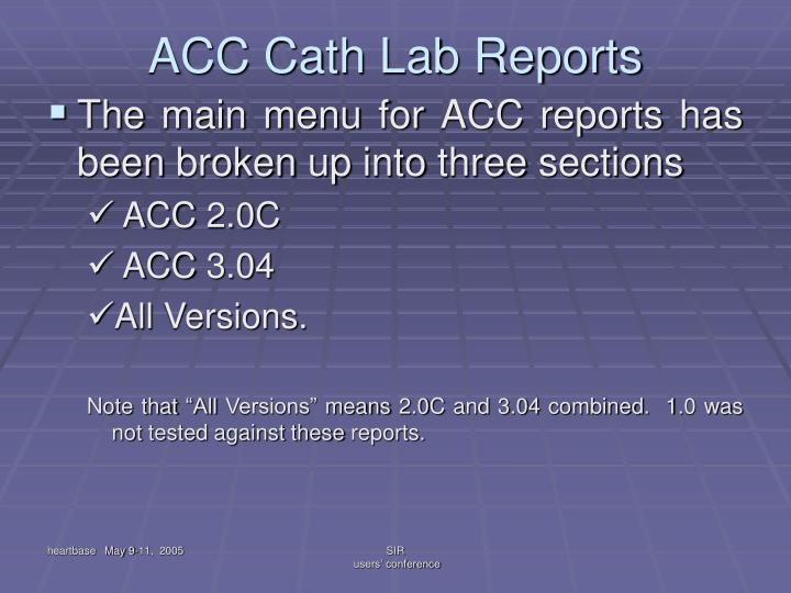 ACC Cath Lab Reports