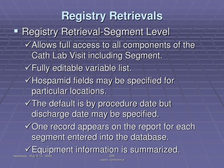 Registry Retrievals
