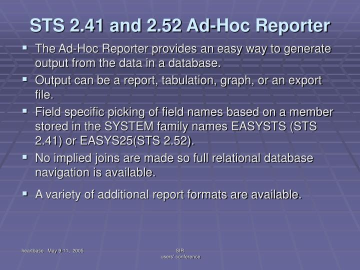 STS 2.41 and 2.52 Ad-Hoc Reporter