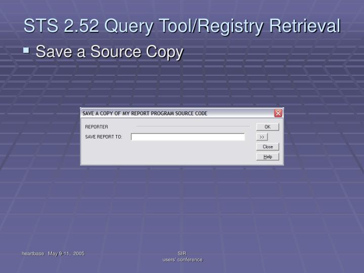 STS 2.52 Query Tool/Registry Retrieval