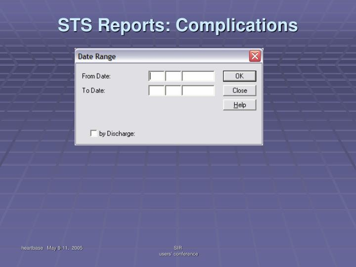 STS Reports: Complications