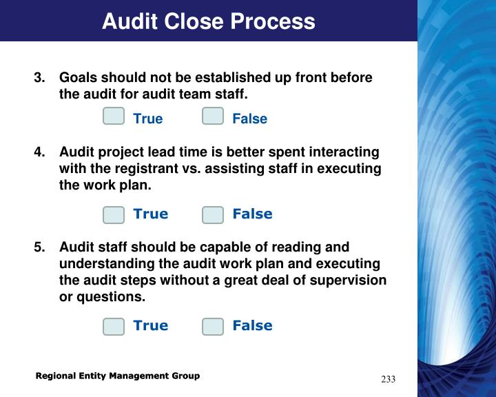 Audit Close Process