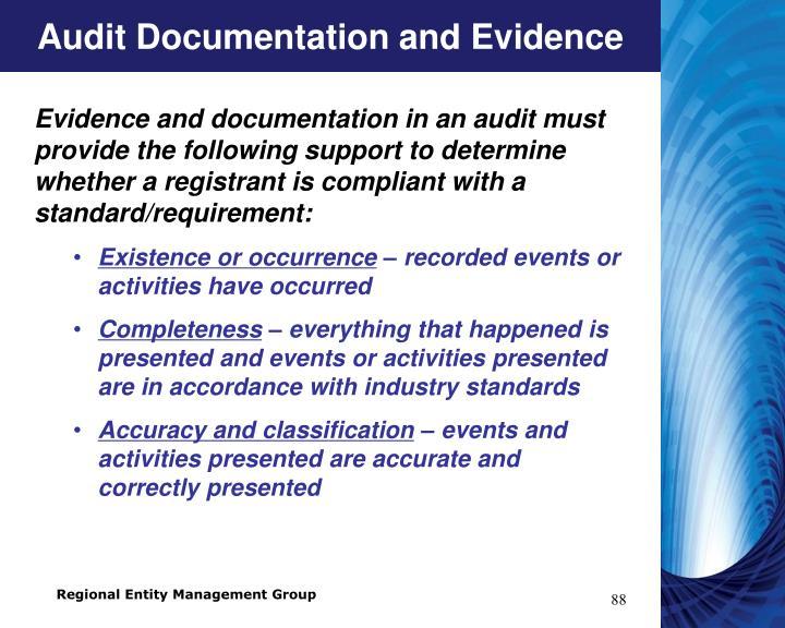 Audit Documentation and Evidence