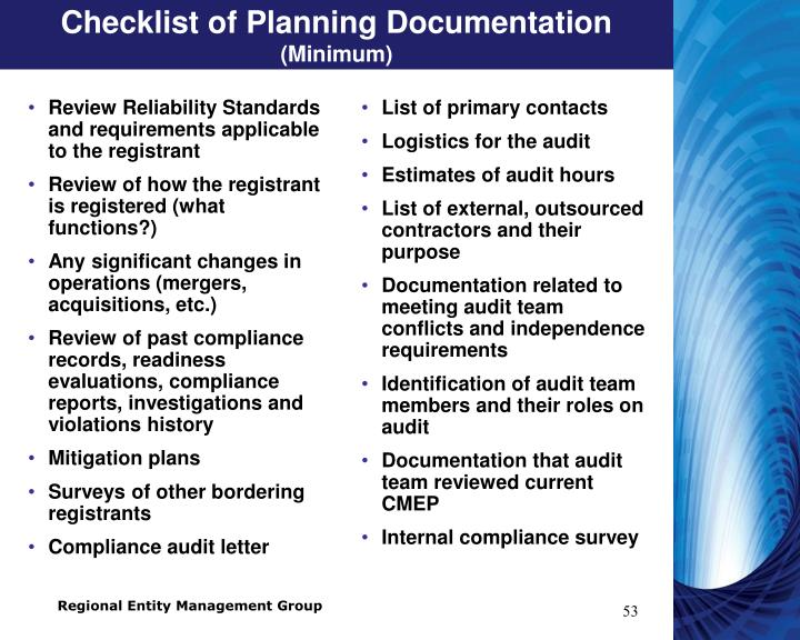 Checklist of Planning Documentation