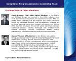 compliance program assistance leadership team