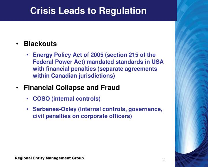 Crisis Leads to Regulation