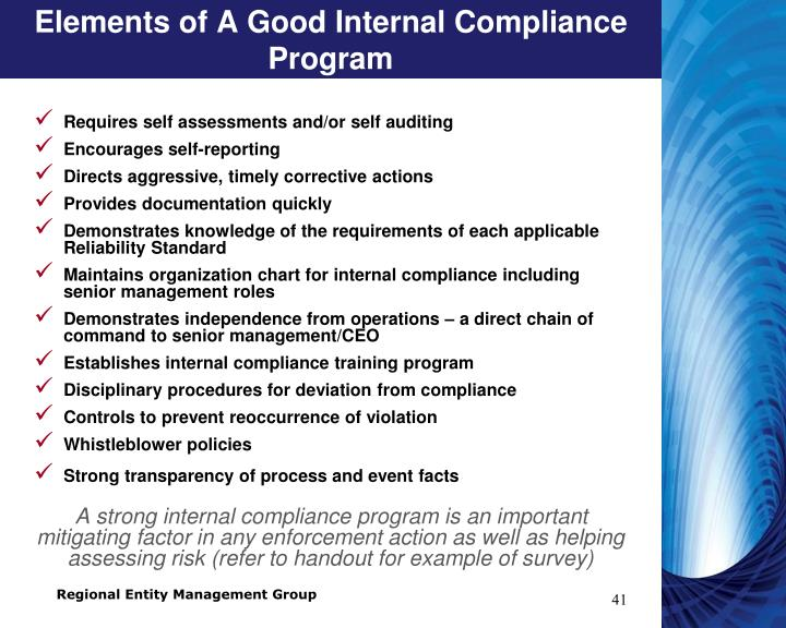 Elements of A Good Internal Compliance Program