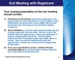 exit meeting with registrant