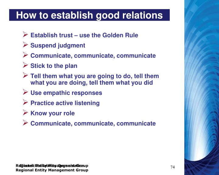 How to establish good relations