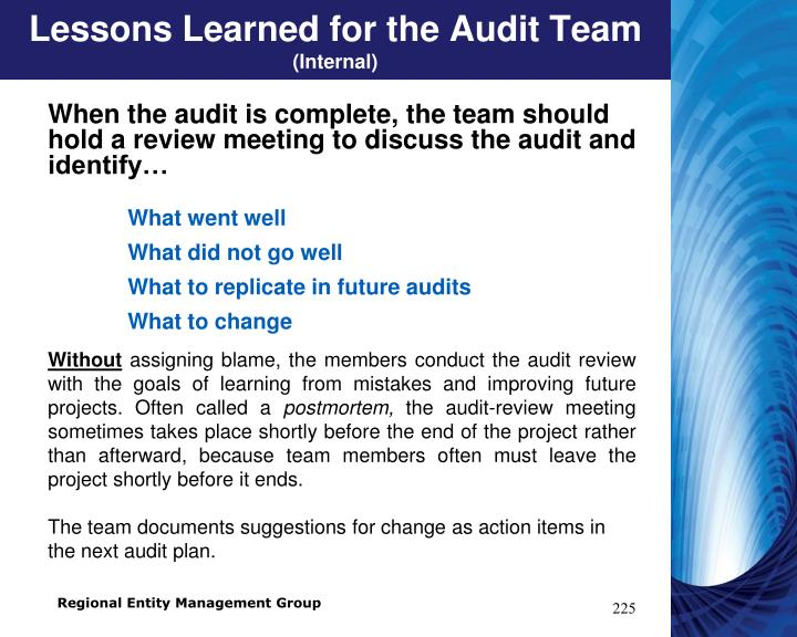 Lessons Learned for the Audit Team