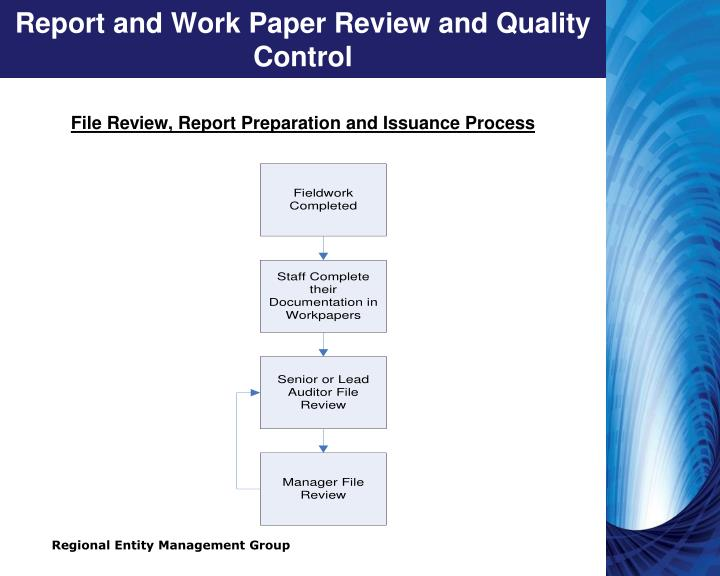 Report and Work Paper Review and Quality Control