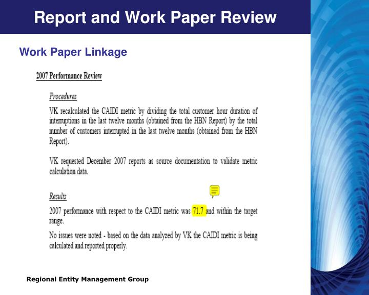 Report and Work Paper Review