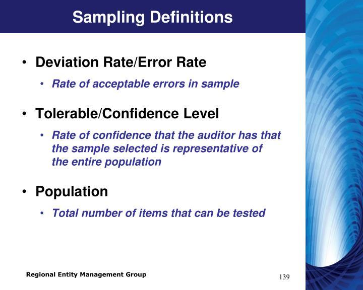 Sampling Definitions