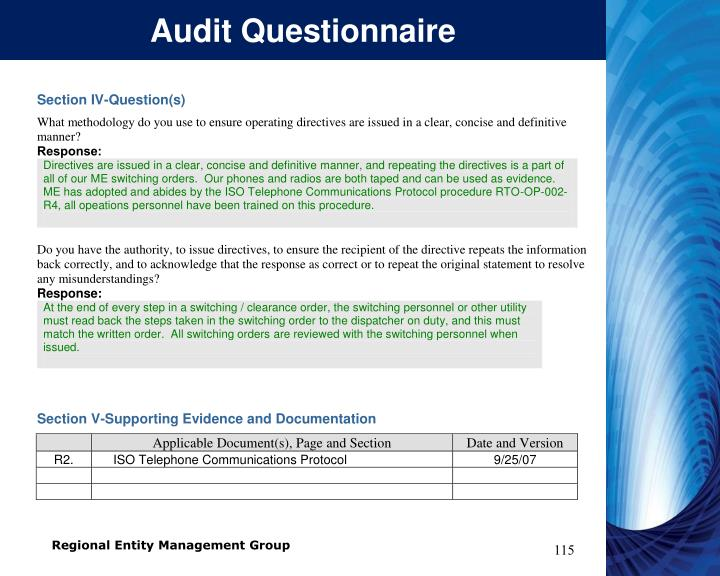 Audit Questionnaire