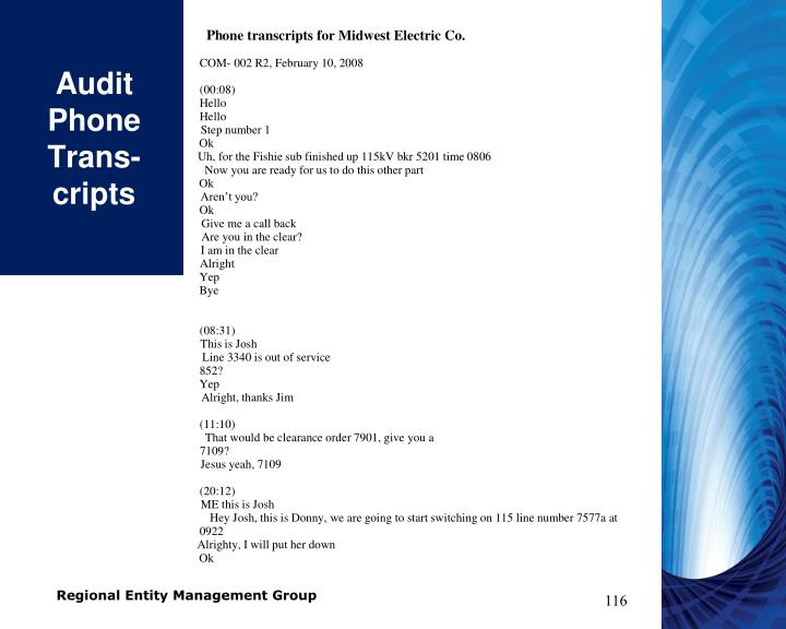 Audit Phone Trans-cripts