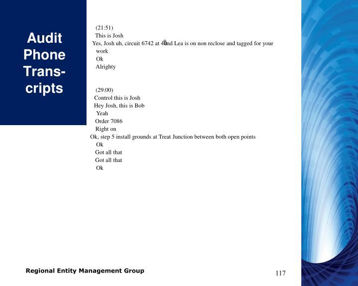 Audit Phone Trans-cripts