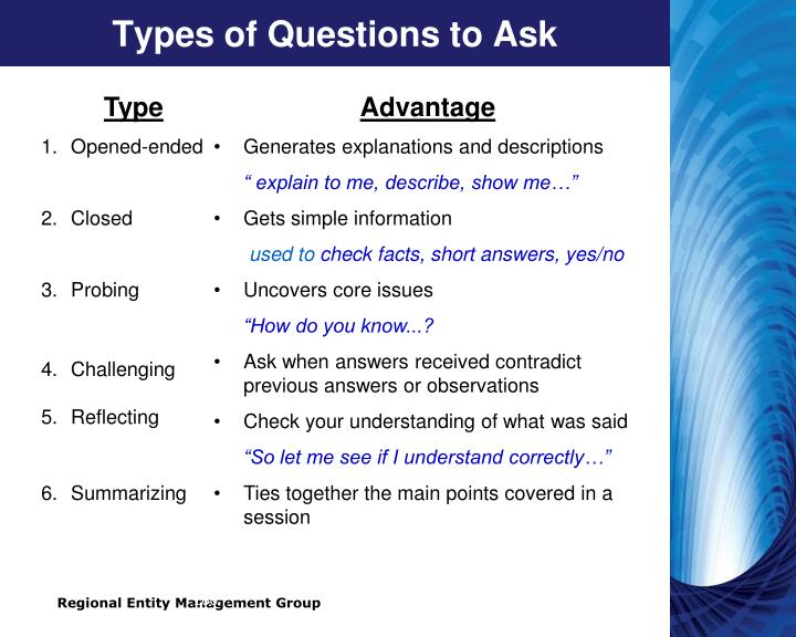 Types of Questions to Ask