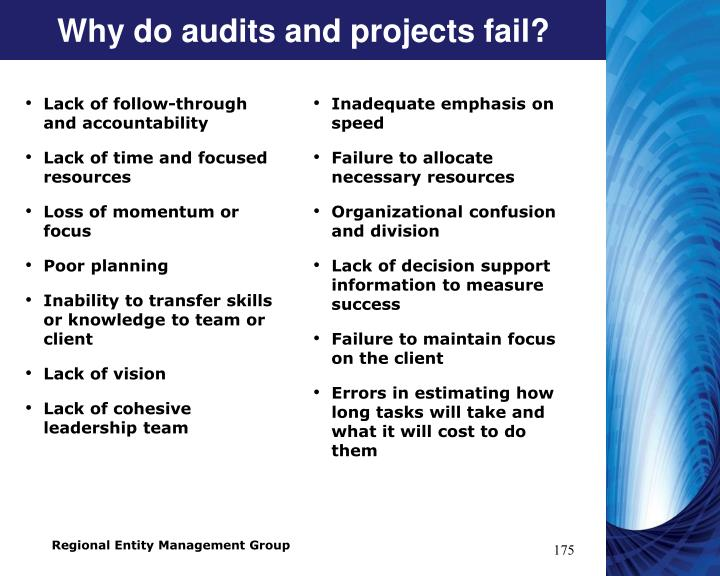 Why do audits and projects fail?
