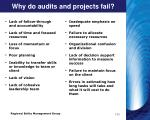 why do audits and projects fail