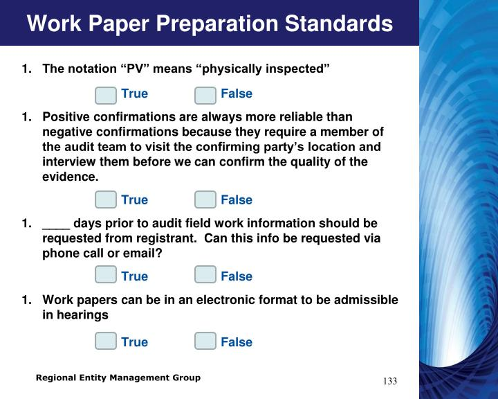 Work Paper Preparation Standards