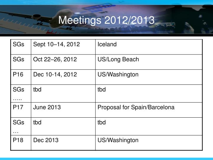Meetings 2012/2013
