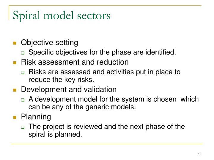 Spiral model sectors