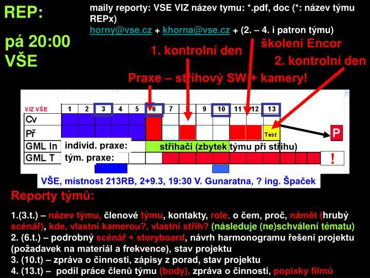 maily reporty: VSE VIZ název tymu: *.pdf, doc (*: název týmu REPx)