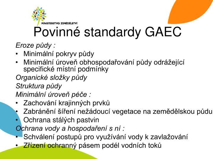 Povinné standardy GAEC