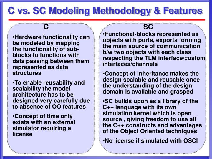 C vs sc modeling methodology features