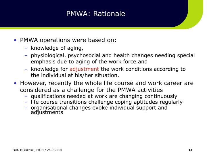 PMWA: Rationale
