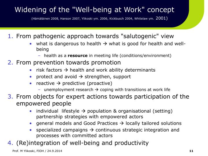 """Widening of the """"Well-being at Work"""" concept"""