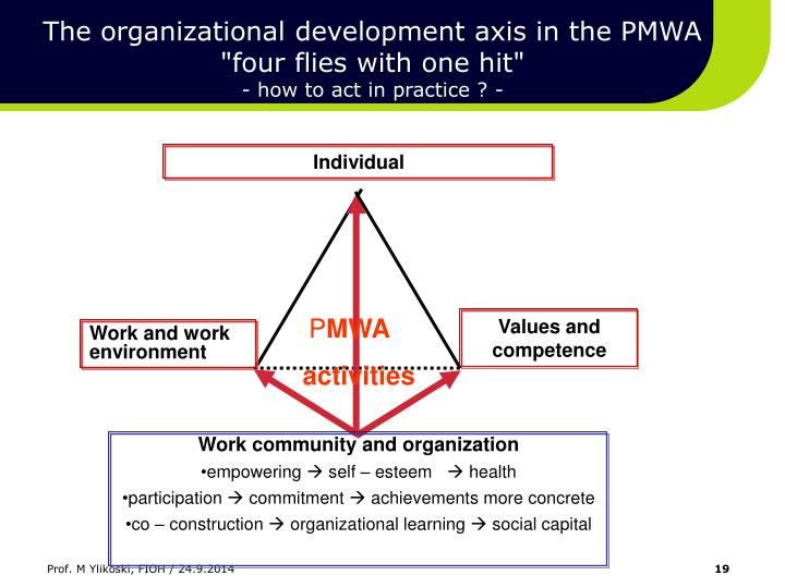 The organizational development axis in the PMWA