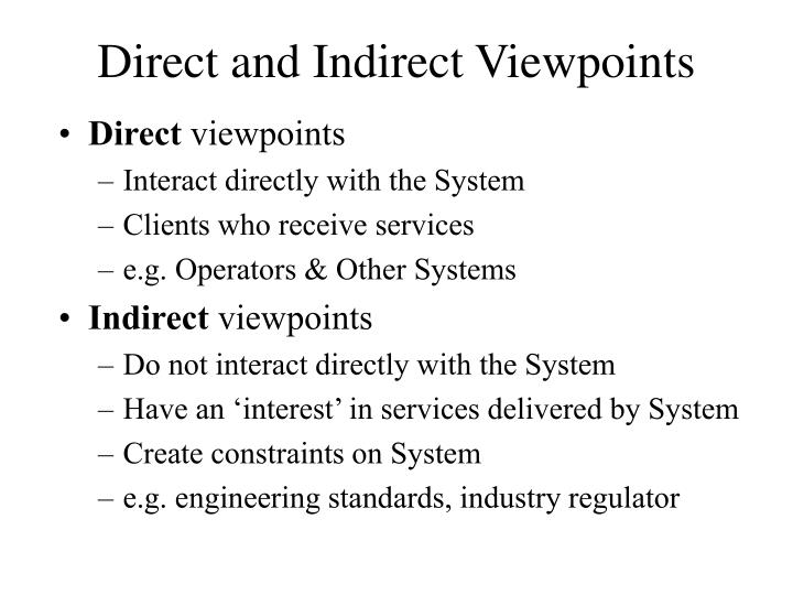 Direct and Indirect Viewpoints