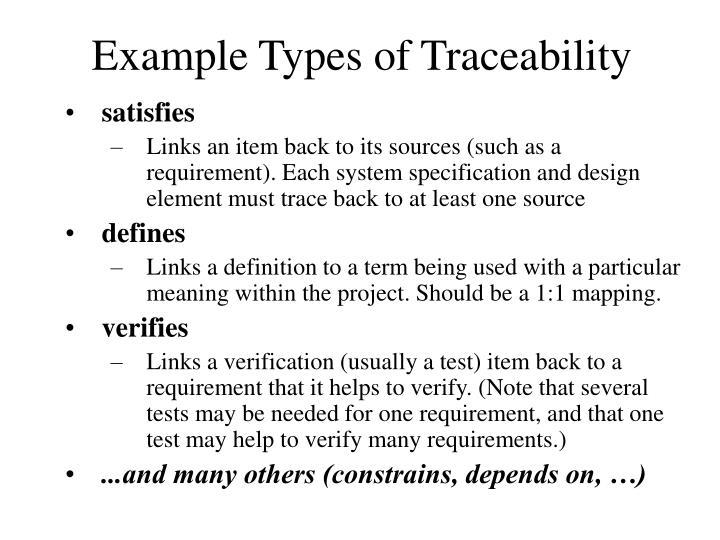 Example Types of Traceability
