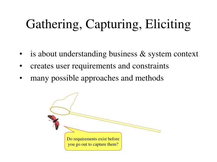Gathering, Capturing, Eliciting