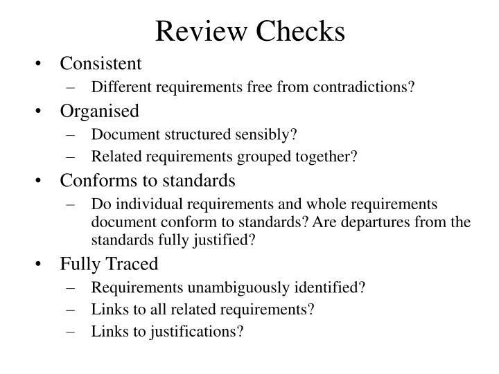 Review Checks