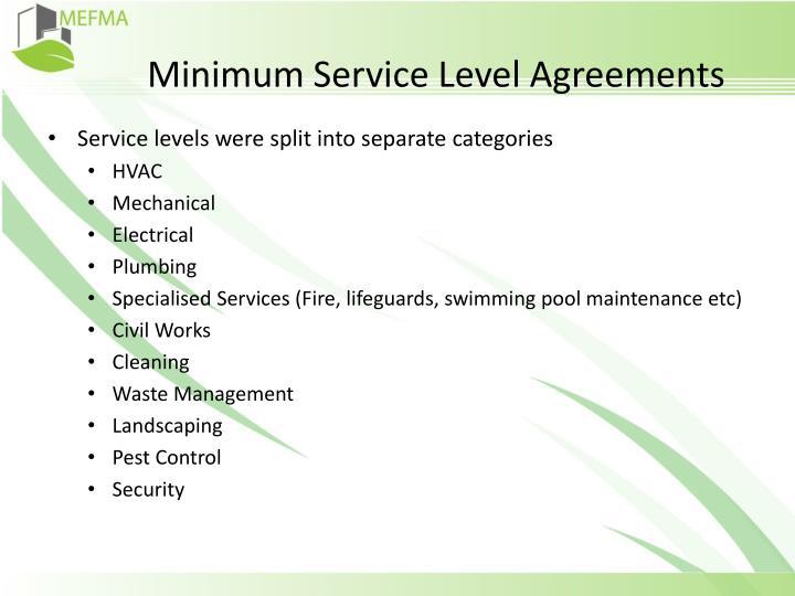 Minimum Service Level Agreements