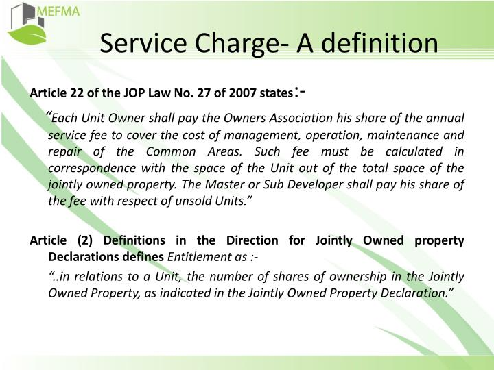 Service Charge- A definition