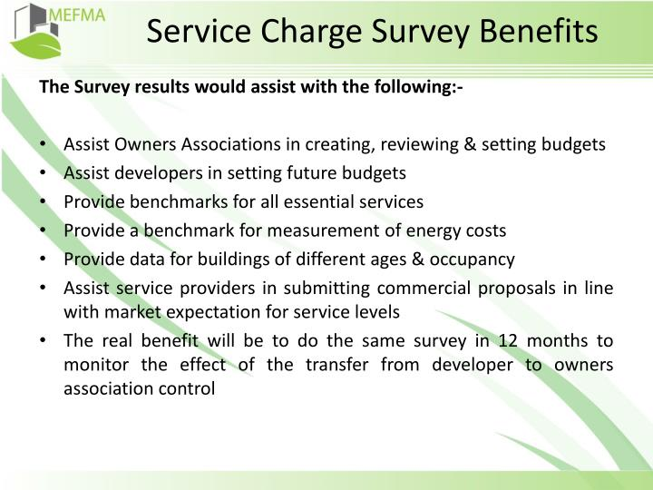 Service Charge Survey Benefits