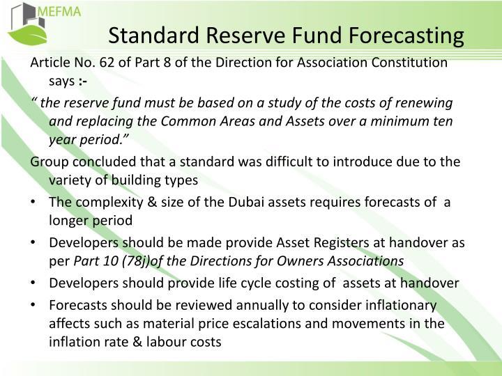 Standard Reserve Fund Forecasting