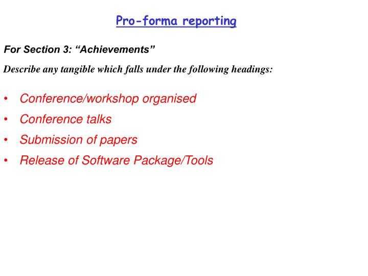 Pro-forma reporting