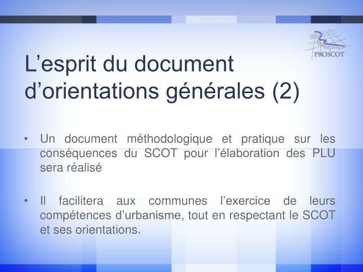 L'esprit du document d'orientations générales (2)