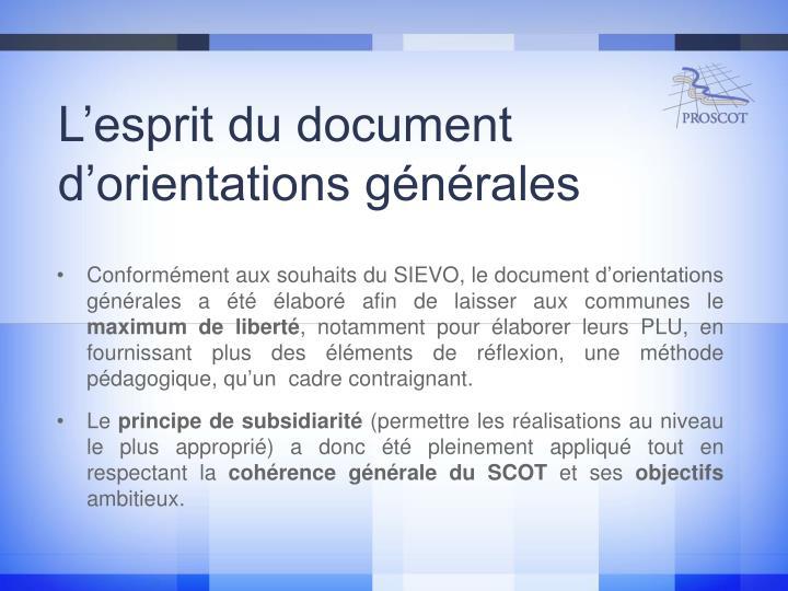 L'esprit du document d'orientations générales