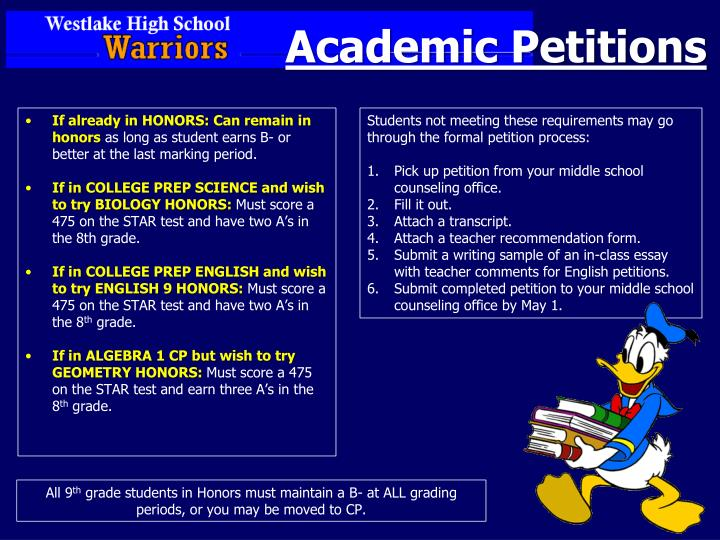 Academic Petitions
