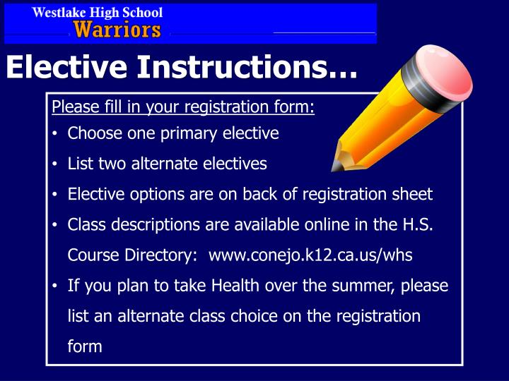 Elective Instructions…