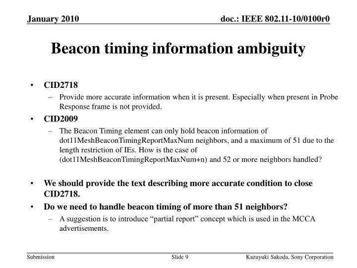 Beacon timing information ambiguity