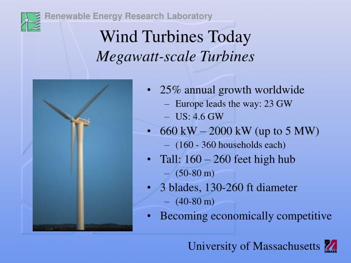 Wind turbines today megawatt scale turbines